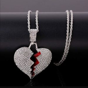 """Crystal 💔 HeArt 22"""" Long Necklace New"""